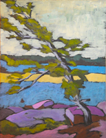 A typical tree painted on a previous year's Kawartha Retreat.
