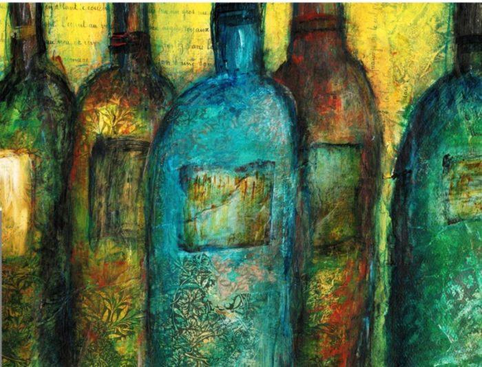 wine bottles color enhanced sized for 11x14