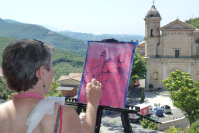 Painting from the main Piazza, Casperia