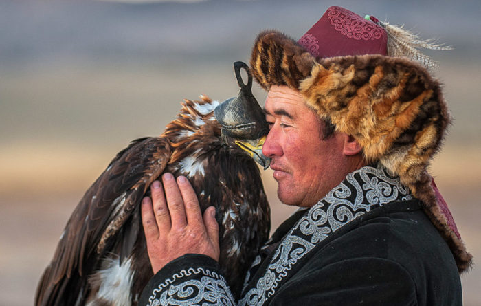Eagle Hunter with Golden Eagle in Mongolia