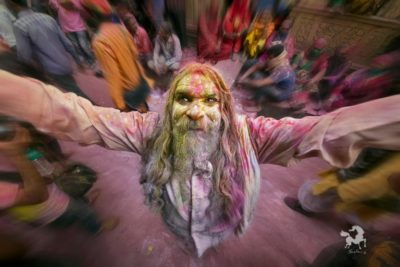 Holi festival near Vrindavan, India is the most colorful on earth