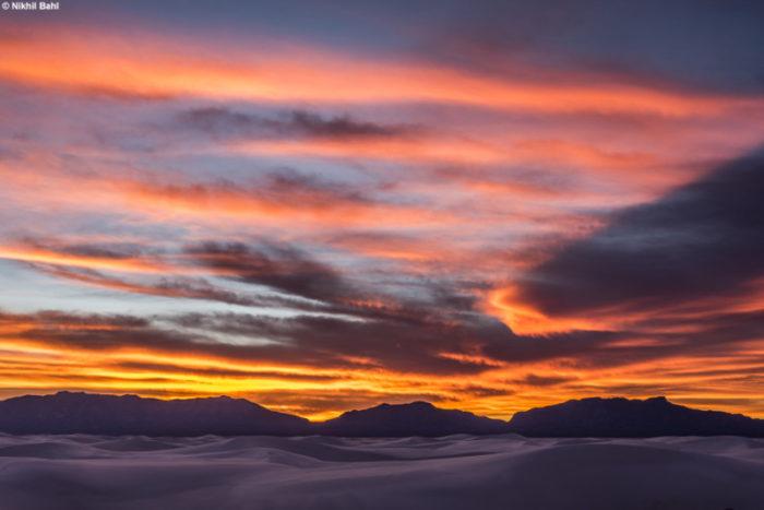 Mountain sunset at White Sands National Monument © Nikhil Bahl