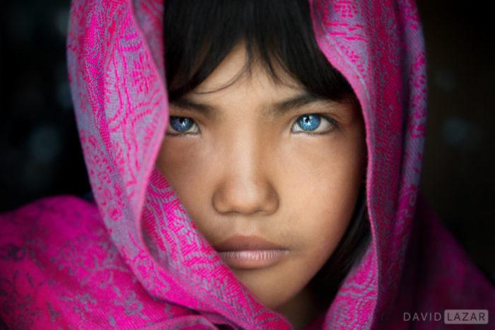 Blue eyed Cham Vietnamese girl