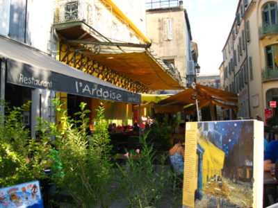 We found almost all of the 10 markers showing places in Arles where Van Gogh set up his easel. This one is by the Cafe de la Nuit.