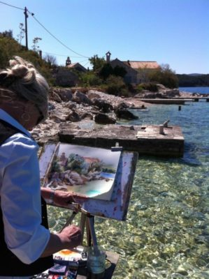 slikamilina, tour, landscape, sea, workshop, artholiday, adriatic, outdoors, art, artist, pleinair, painting, korcula, cavtat, Croatia