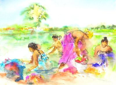 River washing in India by Maxine Relton