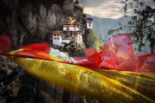 David lazar's Tiger's Nest with prayer flags