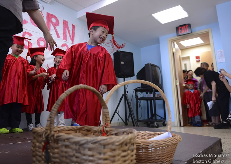 Boston, MA 062813  Alex Zhao (Cq), 4, was among twenty children who took part in the the Acorn Center graduation for Early Education and Care Graduation at the Boston Chinatown Neighborhood Center on June 28, 20913. (Essdras M Suarez/ Globe Staff)/ MET